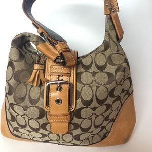 Coach signature tan bag with leather accents